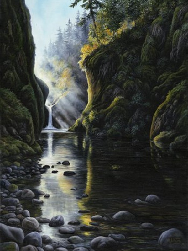 Punch Bowl Falls - 22x30 - Oil